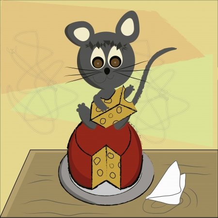 a grey mouse eating a red yellow cheese in a red background Vector