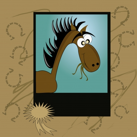 horse care: a happy brown horse eating grass in a portrait Illustration