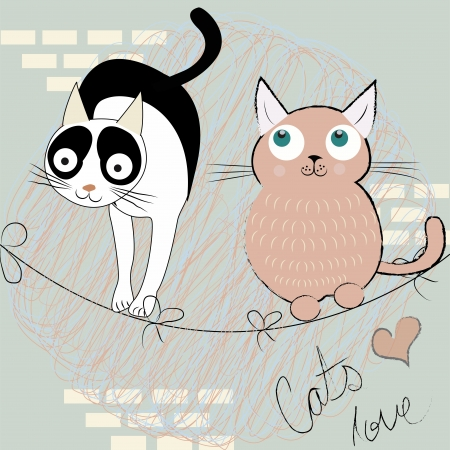 two happy black white and pink cats in a textured background Vector