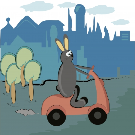 pampered: a grey rabbit riding a pink motorcycle near a city