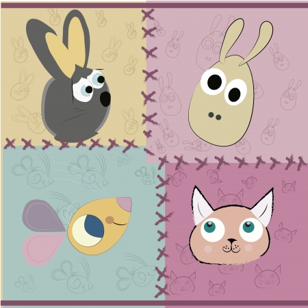 four faces of different animals in a textured colored background Vector