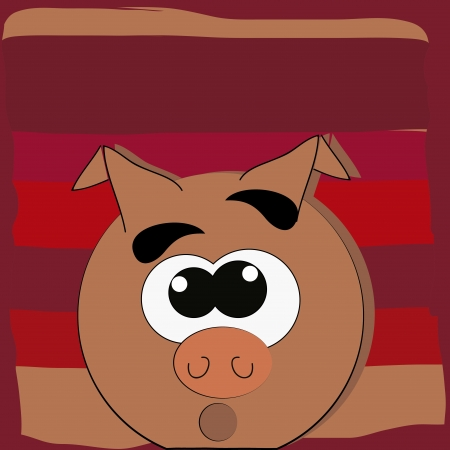 porker: a round fat pork in a red background like a bacon Illustration
