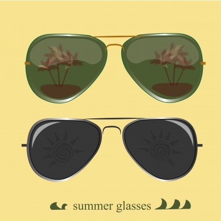 reflects: two glasses with reflects to use in summer season Illustration