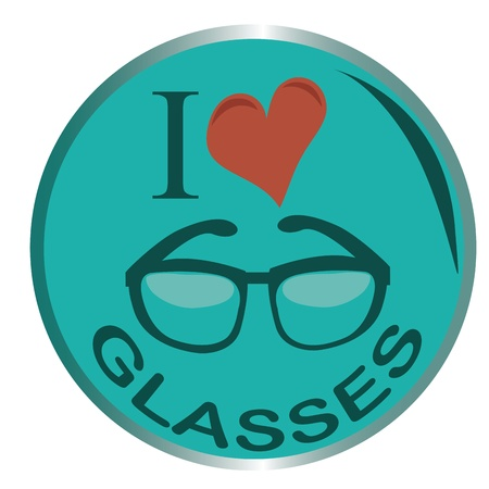 a blue circle with glasses and some words expressing the love for glasses