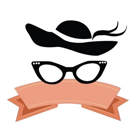 black glasses with black hat and a pink ribbon in a white background Illustration