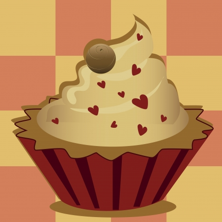 a delicious cupcake with hearts in a squared textured background Illustration