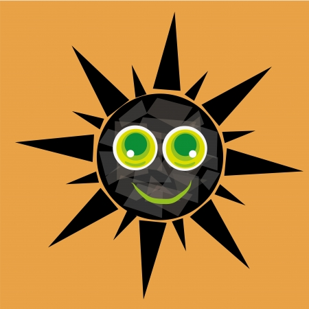 rooster and morning sun: a happy round black sun with eyes in a yellow background Illustration