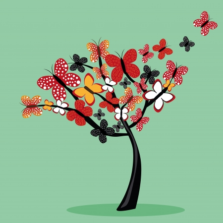 a beautiful tree composed by colorfuls butterflies Stock Vector - 21566287