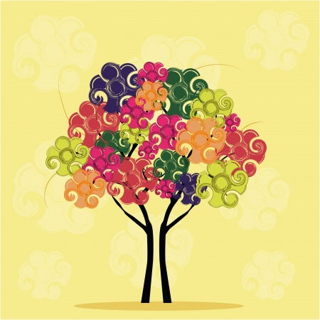 similitude: a beautiful tree composed by colorful flowers