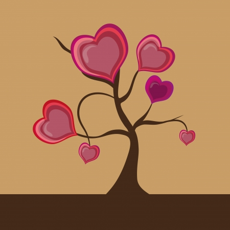 a beautiful colorful tree composed by hearts