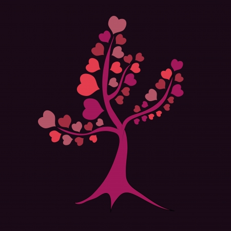 a beautiful colorful tree composed by linear hearts