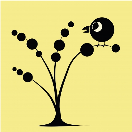 a beautiful tree composed by black circles with different sizes Иллюстрация