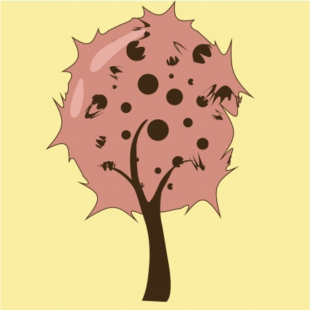 resemblance: a beautiful tree composed by different brown dots Illustration