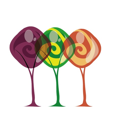similitude: three beautiful trees with three different colors