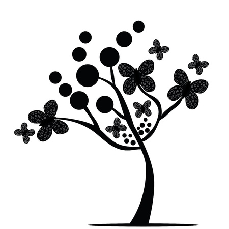similitude: a black tree with different sizes of butterflies and dots