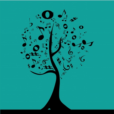 similitude: a black tree composed by black musical notation in a blue blackground