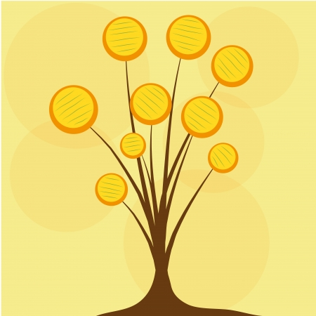 resemblance: a beautiful tree composed by yellow dots of different sizes