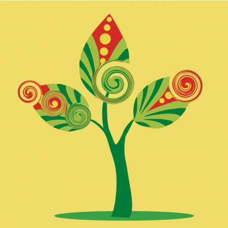 a beautiful green tree with three green leafs composed by green and red forms Stock Vector - 21566337