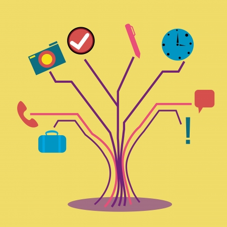 resemblance: a concept tree composed only by business material Illustration