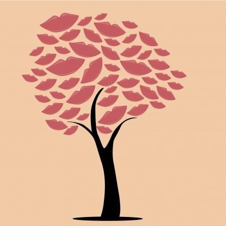 similitude: a beautiful tree composed by lips of different sizes Illustration