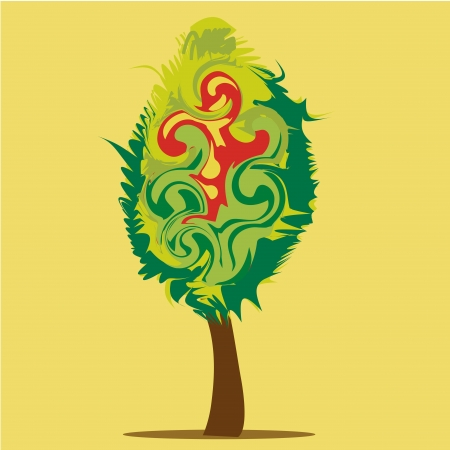 similitude: a beautiful tree composed by green and red irregular forms