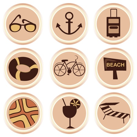 nine different icons of summer related stuff in a white background Illustration