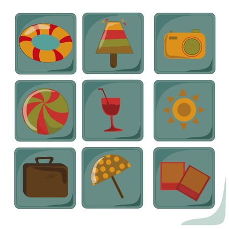 nine different icons of summer related stuff in a blue background Vector