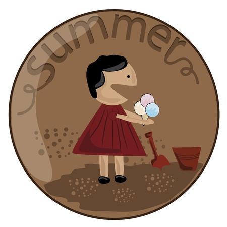una niña en un vestido rojo que come el helado en un fondo marrón Ilustración de vector