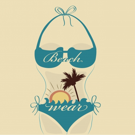 underclothing: a blue silhouette of a bikini with a sun and a palm