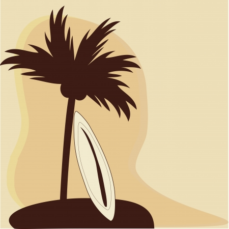 cocos: a single palm with cocos and a surfboard in summer Illustration