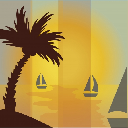 cocos: a brown palm with cocos and three boats in summer