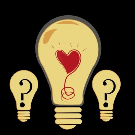Three yellow bulbs showing how beautiful an idea is Иллюстрация