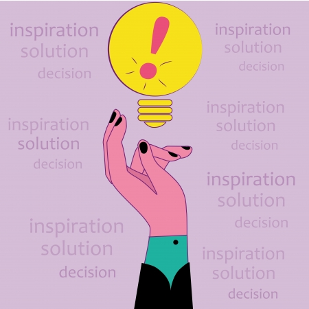 admiration: a yellow bulb containing a pink admiration symbol and a hand