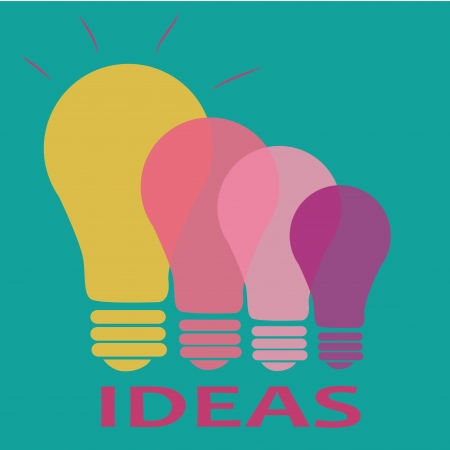 A yellow, pink and purple bulbs showing differents ideas Vector