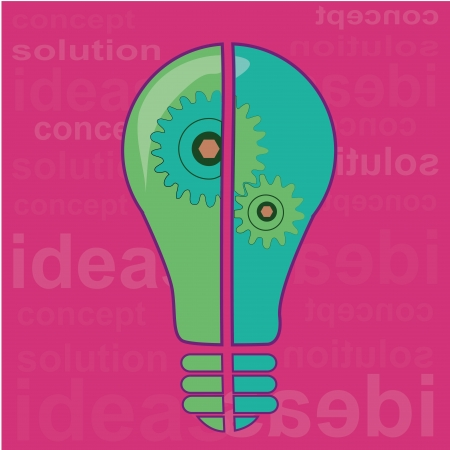 two different color bulb processing an idea in a pink background