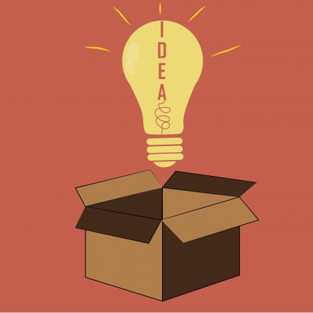 brown box: a bright yellow bulb coming out from a brown box