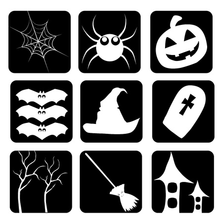 sillhouette: nine different icons of halloween celebrating material sillhouettes