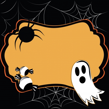 a ghost with two candies and a spider composing a halloween card