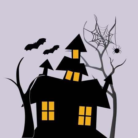a black house with four windows and two bats flying near it with a spider