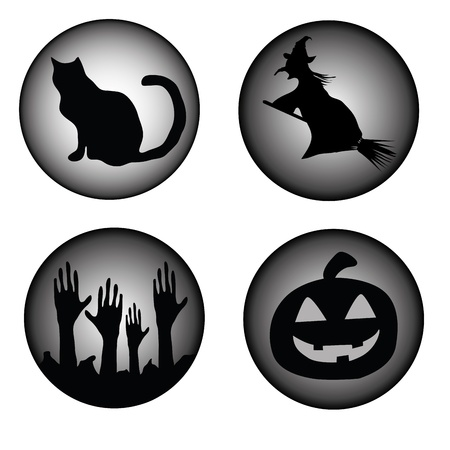 four black sillhouettes which represents what halloween is in a simple way Vector