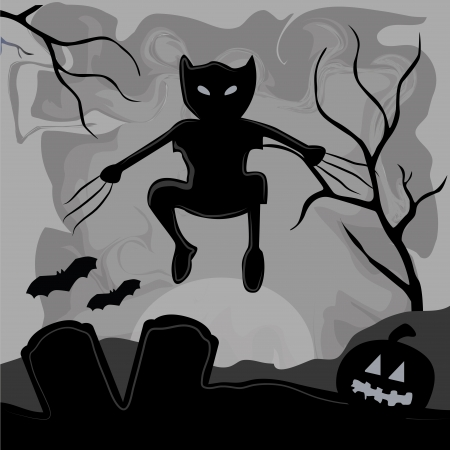 a wolverine cat coming out from the shadows to celebrate halloween Vector