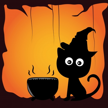 a black cat preparin a soup for halloween Vector