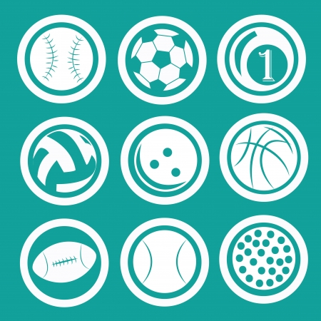 nine different icons of nine different balls used in different sports Illustration