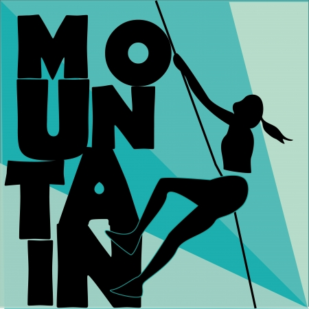 a black silhouette of a woman climbing the word mountain Vector