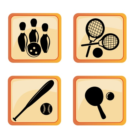 four black silhouettes of different sports in orange boxes Vector
