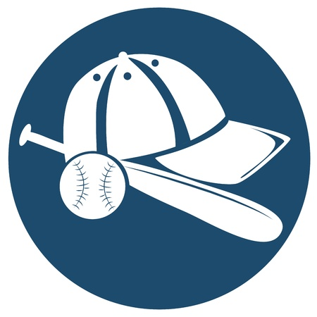 a white icon of a baseball bat with ball and hat in a blue background Illustration