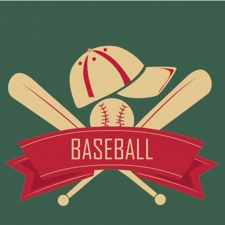 baseball diamond: two bats of baseball with hat and ball and a red ribbon in a green background