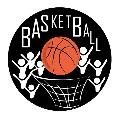 basketball team: icon of a red basketball ball with men around in a white background
