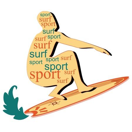 tabla de surf: un ni�o de surf en una tabla de surf con el texto en su interior