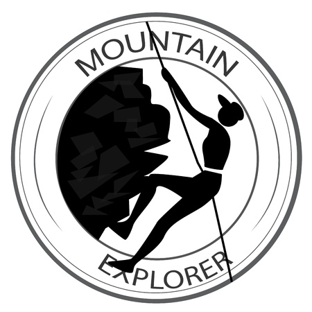 a silhouette of a woman hiking a mountain within an icon Vector